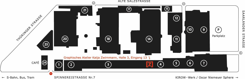 Lageplan der Baumwollspinnerei Leipzig Graphisches Atelier