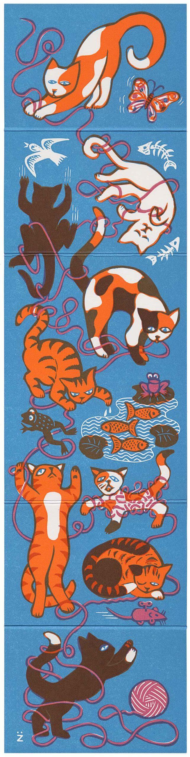 9 bunte Katzen spielen mit Wollknäuel