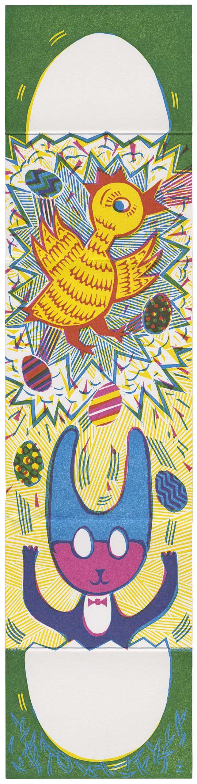 Osterhase und Küken mit vielen bunten Eieren