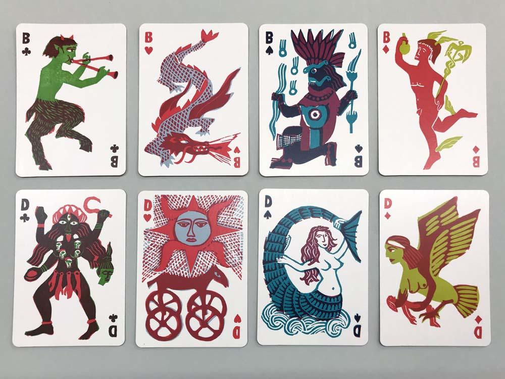 Faun, Feuerdrachen, Regengott Tlaloc, Götterbote Hermes, Göttin Kali, Sonnenwagen, Seejungfrau, Harypie