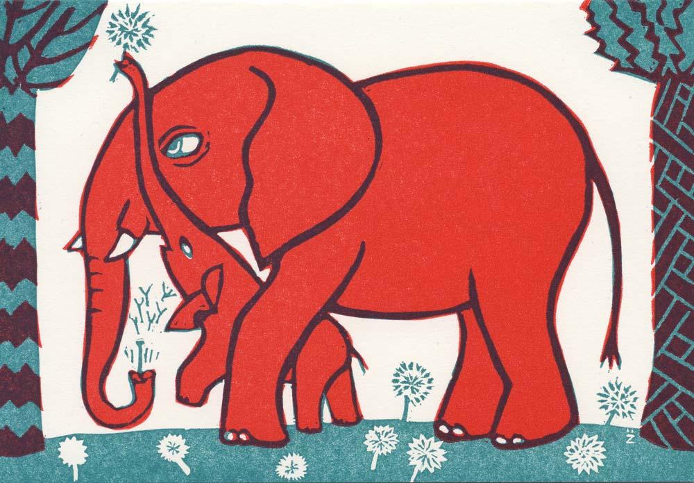 Elefant mit Junges pusten Pusteblumen