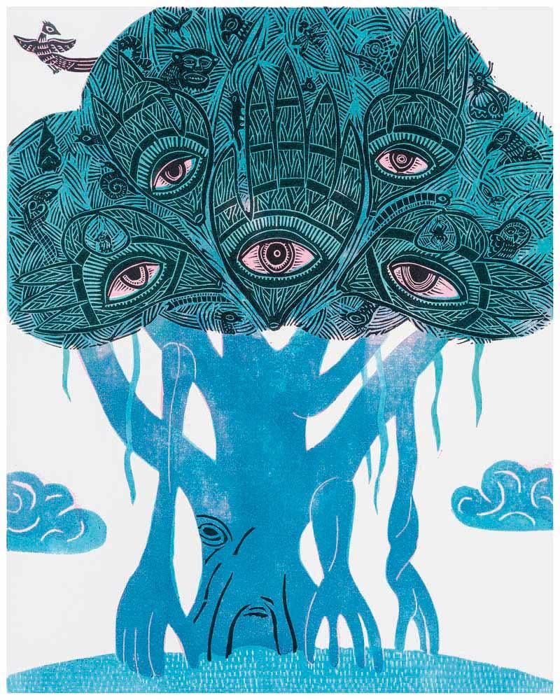 Blauer Feigenbaum mit vielen Tieren in Baumkrone