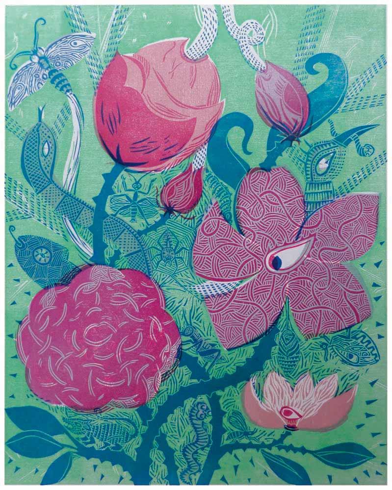 Blütengesichter und Dornengestrüpp mit Kleintieren