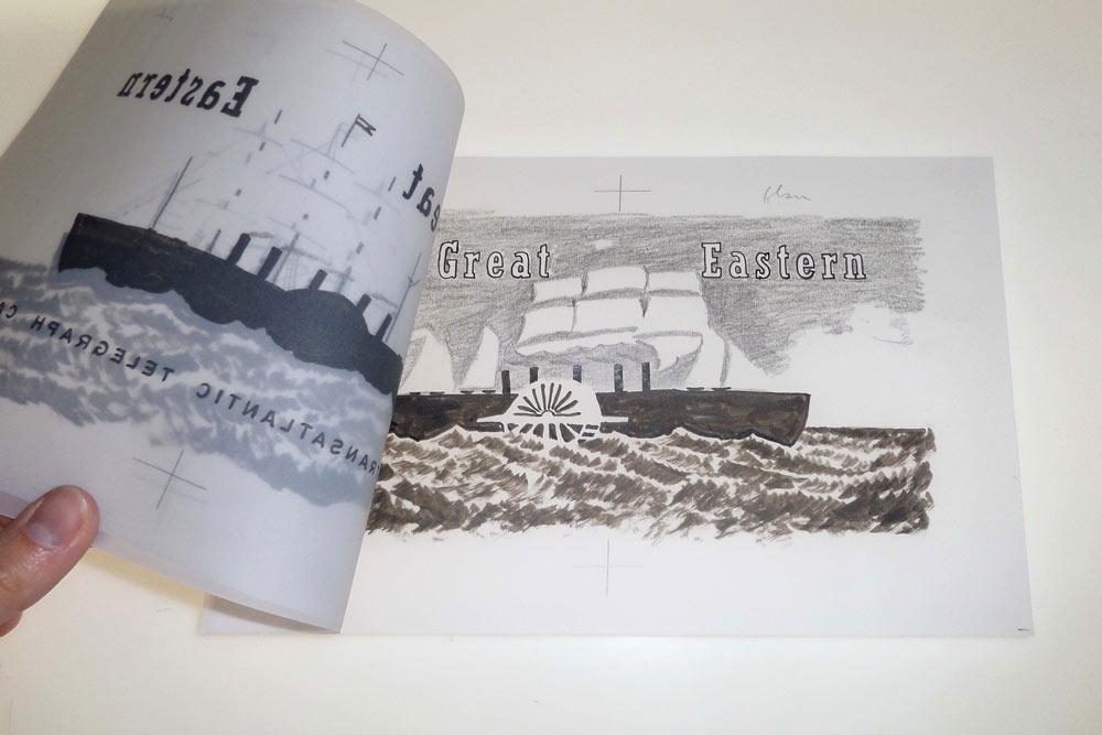Zeichnungen auf dem Lichttisch übereinandergelegt