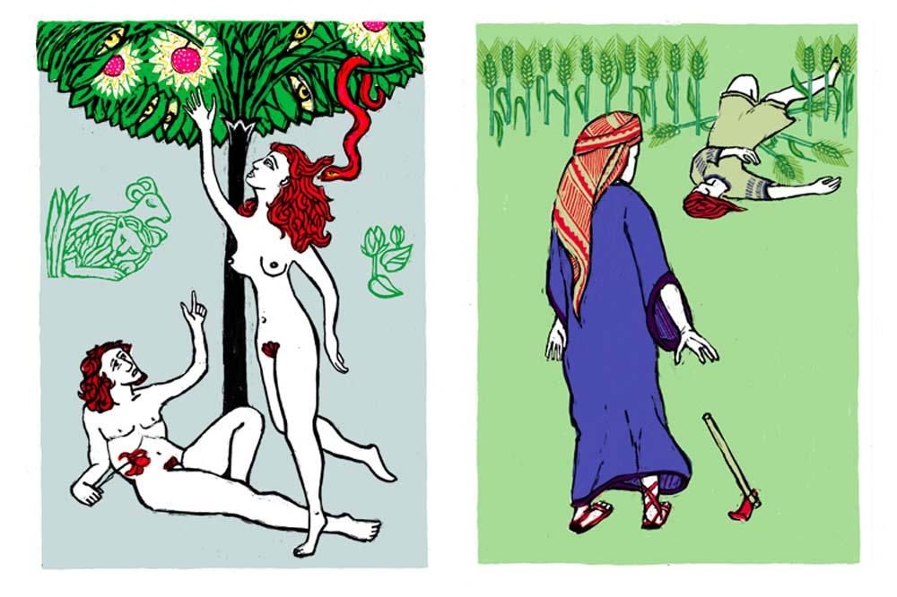 2 Illustrationen zu Sündenfall, Kain erschlägt Abel