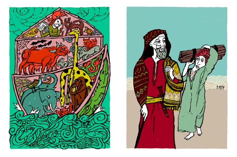 2 Illustrationen zu Arche Noah, Opferung Isaaks