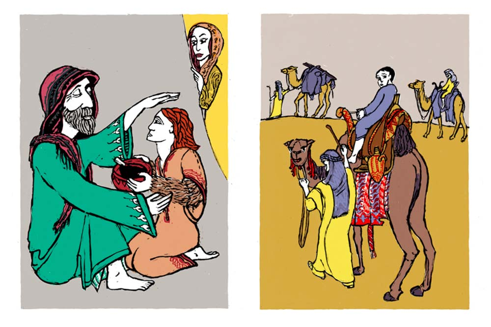 2 Illustrationen zu Jacob erhält den Segen, Joseph wird verkauft