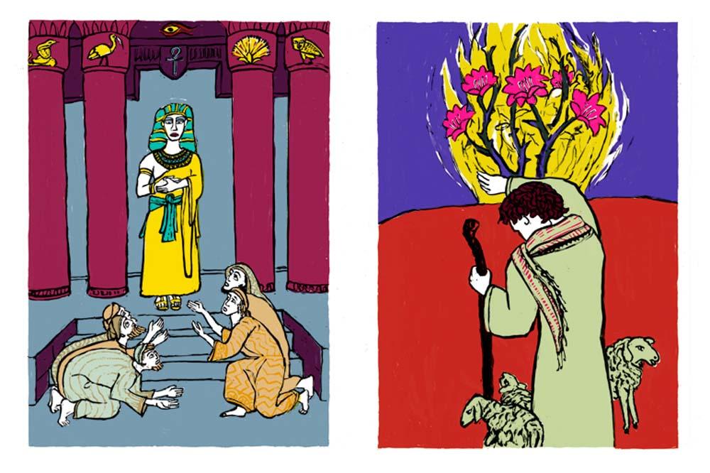 2 Illustrationen zu Joseph und seine Brüder, Moses und der brennende Dornbusch
