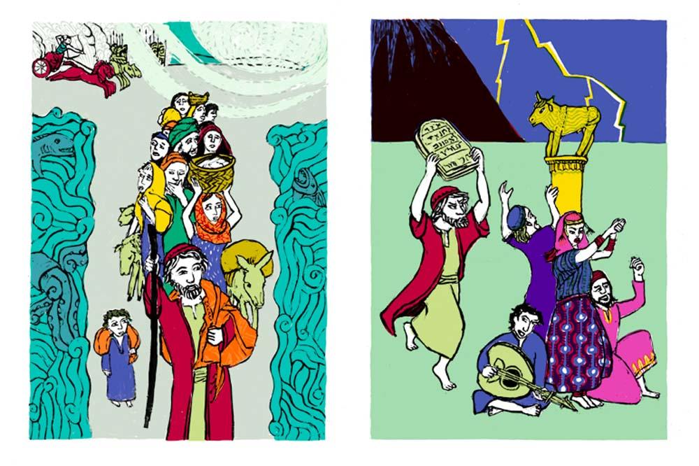 2 Illustrationen zu Auszug aus Ägypten, Tanz ums Goldene Kalb