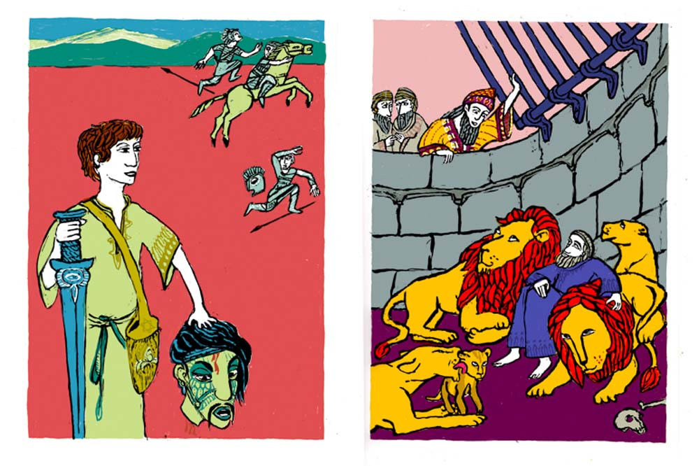 2 Illustrationen zu David erschlägt Goliath, Daniel in der Löwengrube
