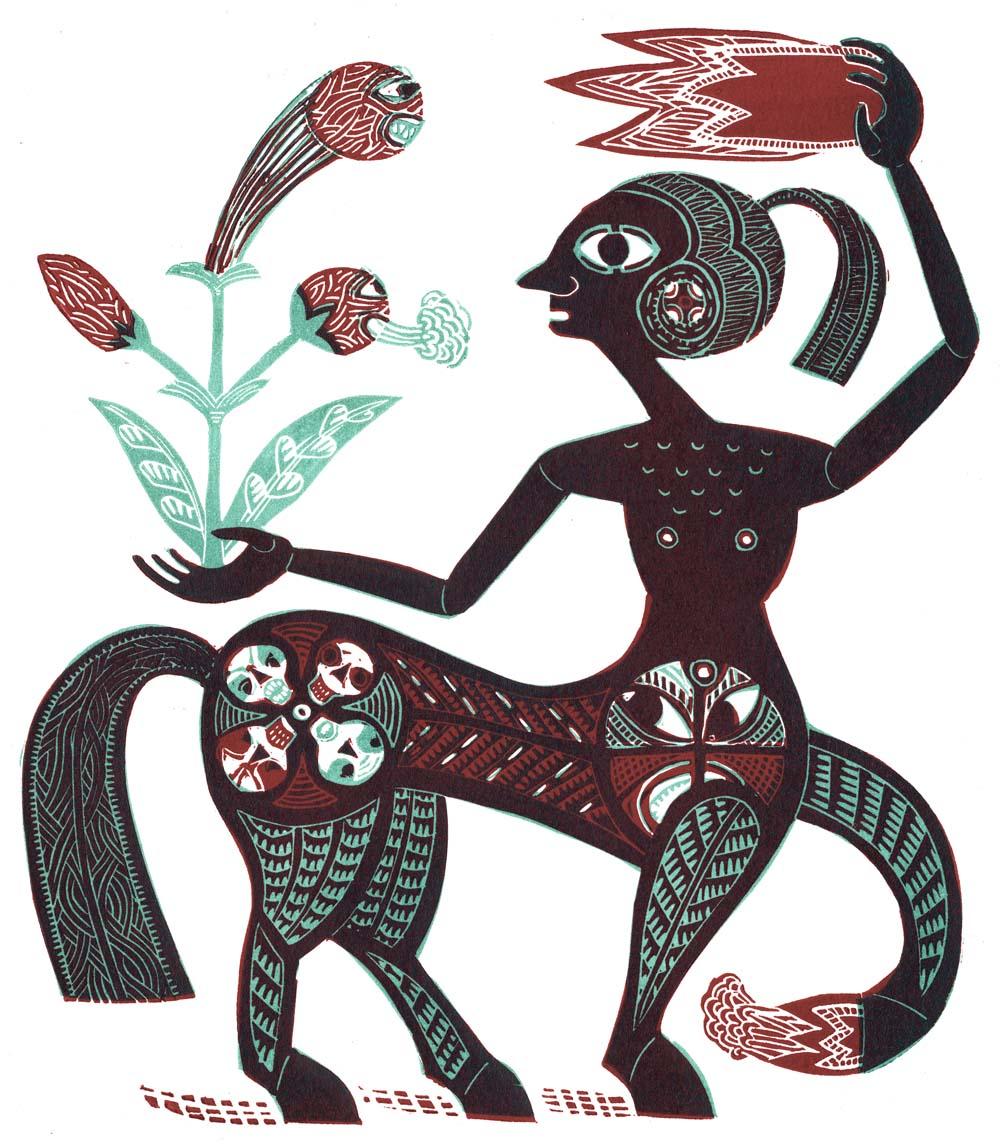 mythologisches Mischwesen mit bissiger Pflanze