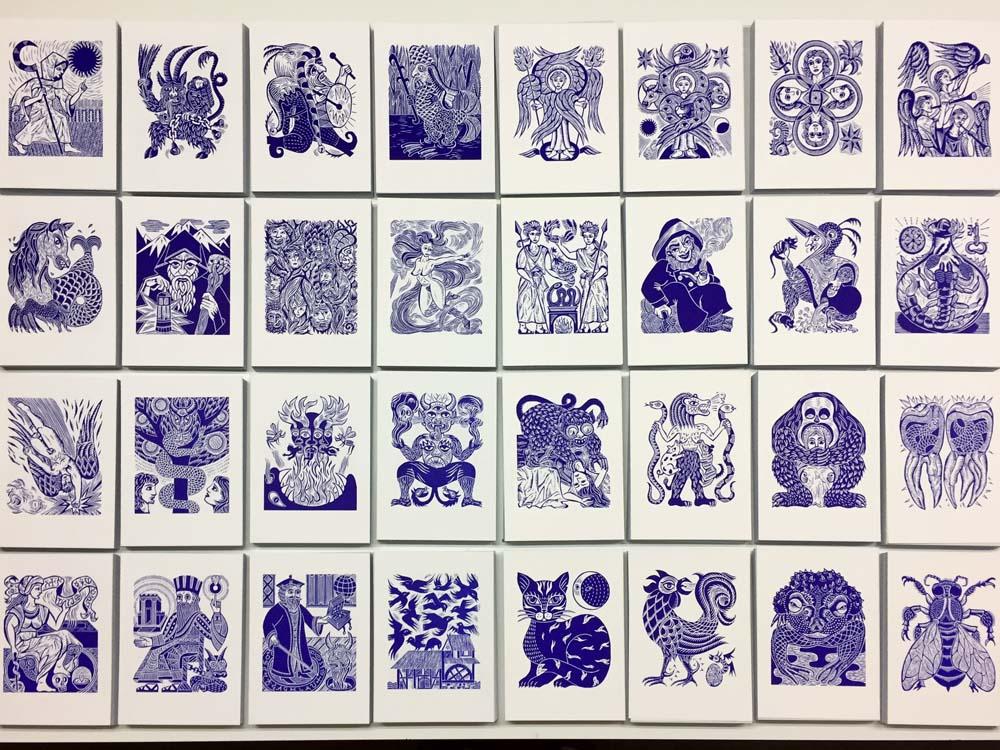 Linolschnitte aller 32 Dämonen