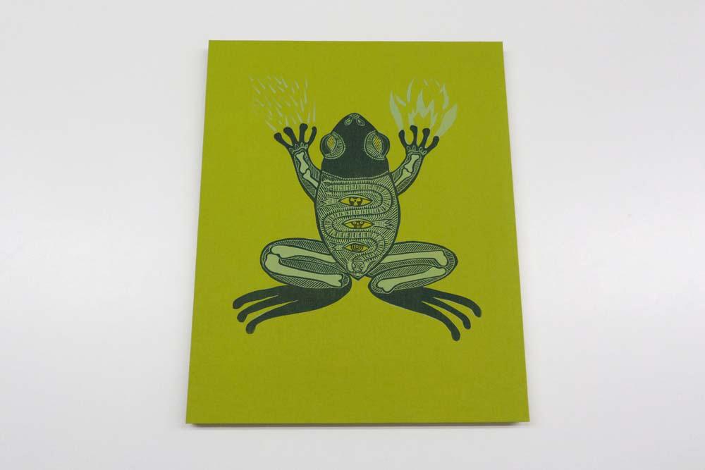 Linolschnitt Krötengeist auf apfelgrünes Leinen gedruckt