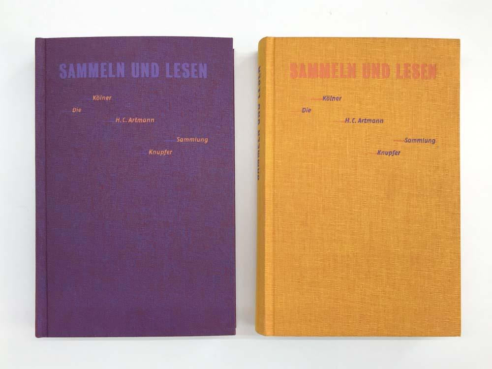 Zwei Buchcover in orange und violett
