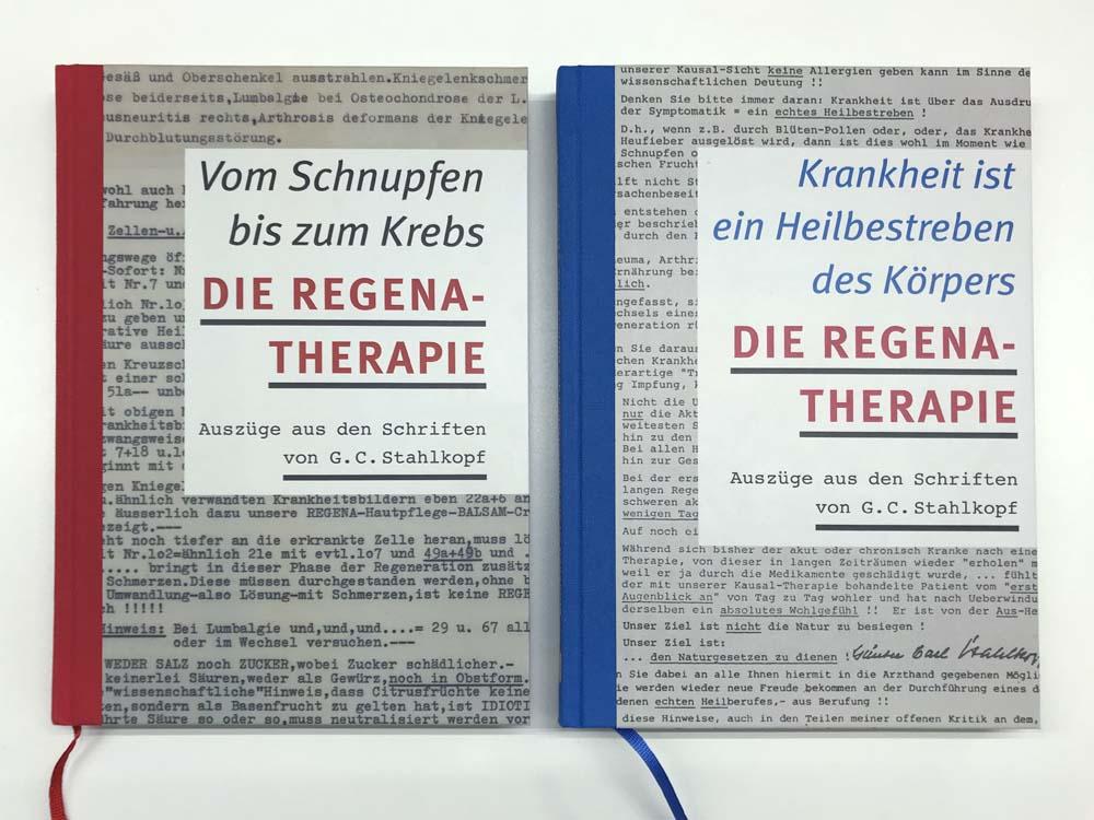 Zwei Buchcover, Halbgewebe rot und blau