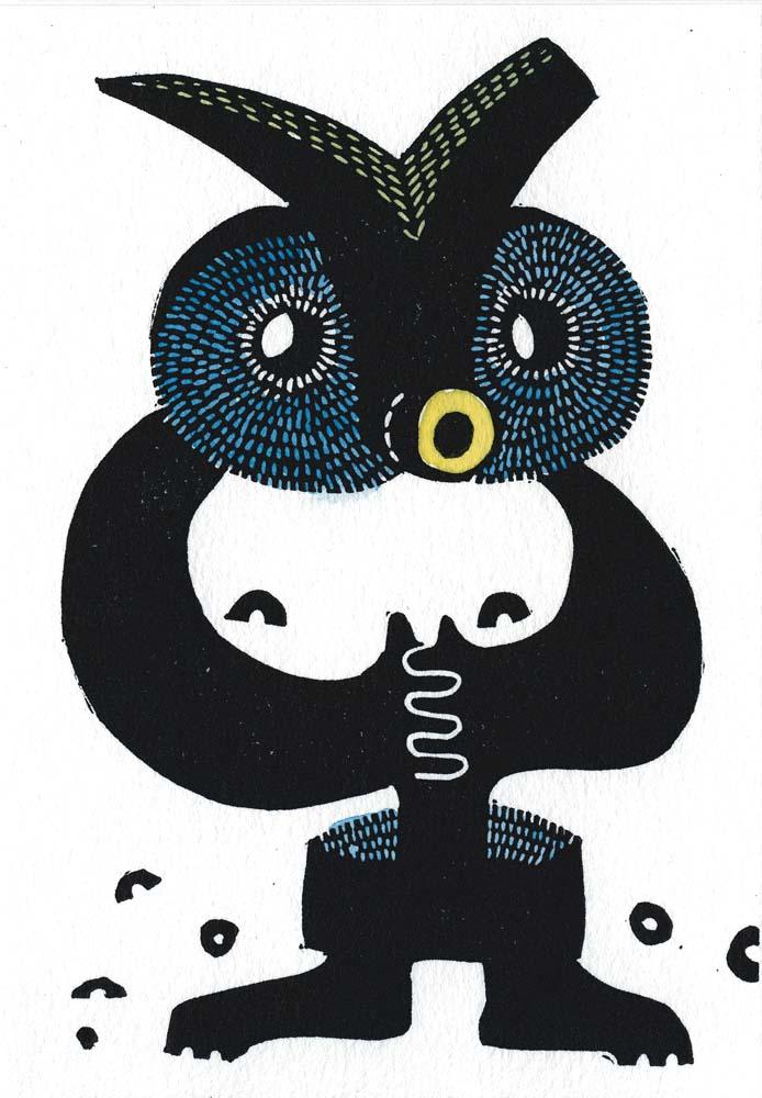 schwarzer Linolschnitt, Aquarellfarbe