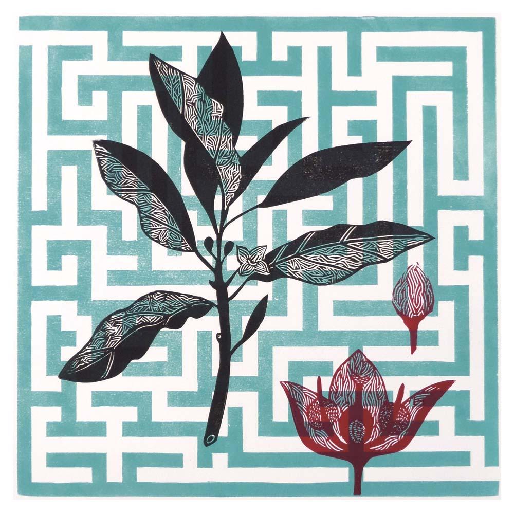 Zweig und Blütenstand, Hintergrund Irrgarten