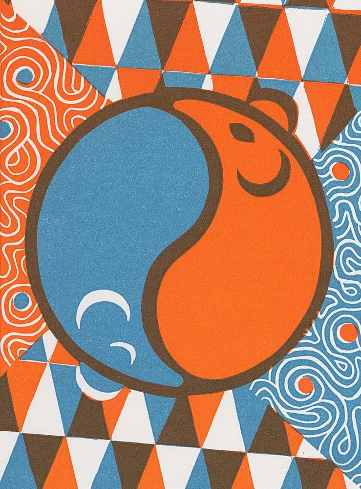 eine orangfarbene und eine blaue Maus formen das Yin-Yang-Symbol