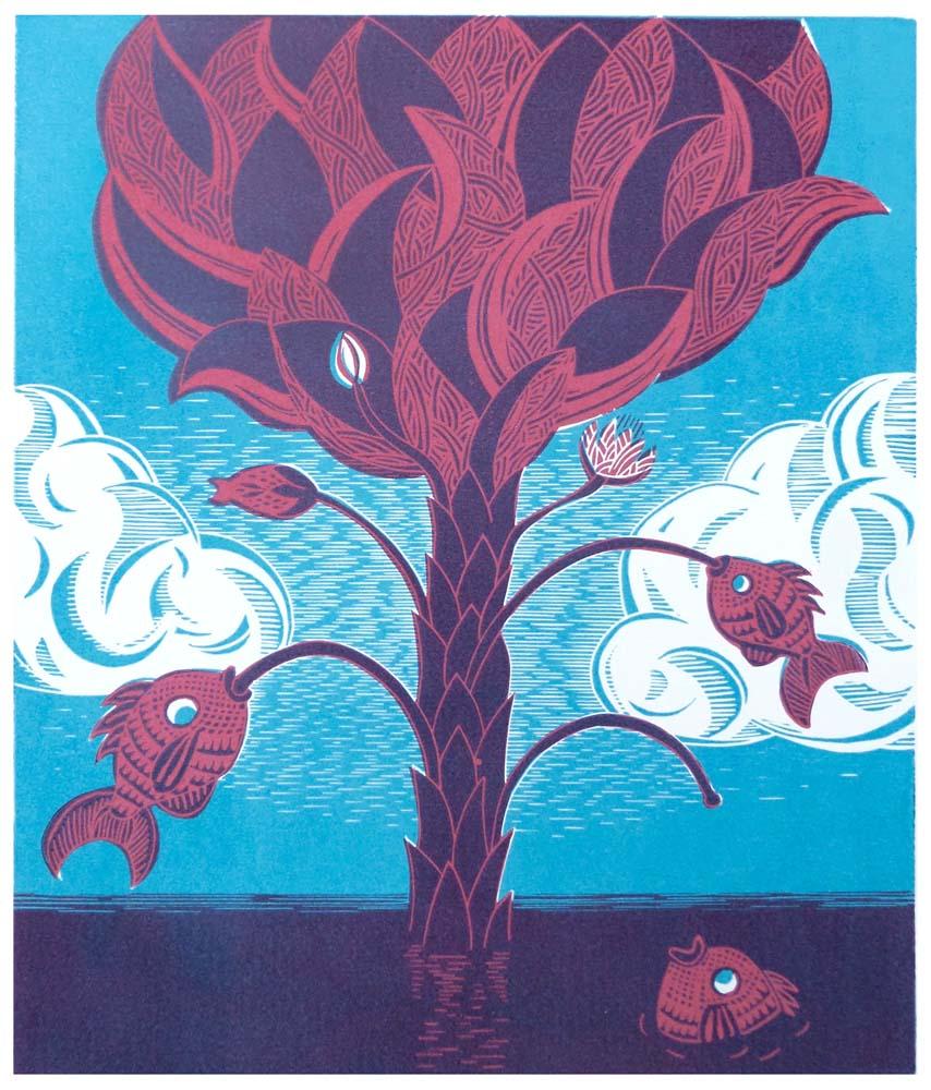 Baum im Meer an dem Fische wachsen