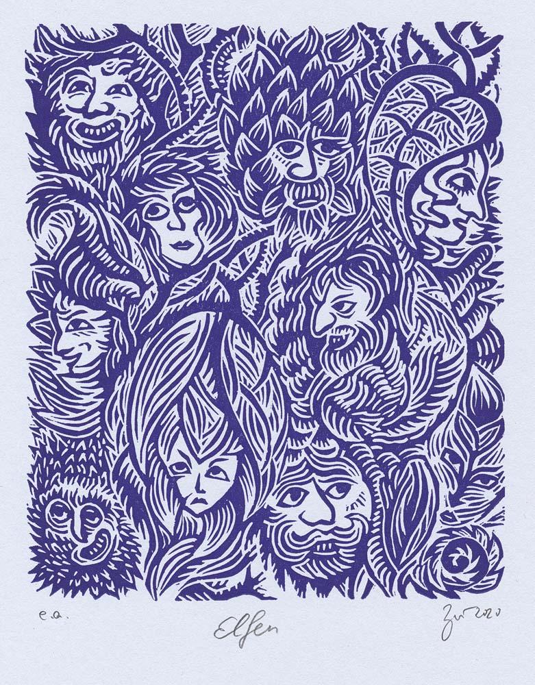 Linolschnitt Elfen
