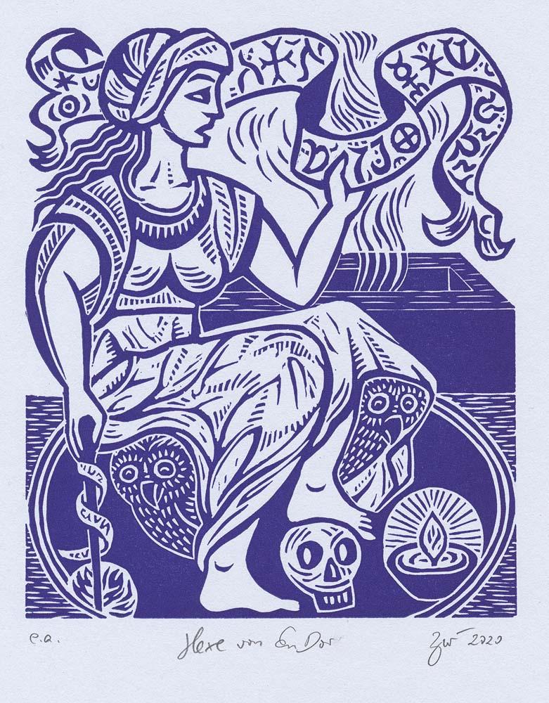 Linolschnitt Hexe von En Dor