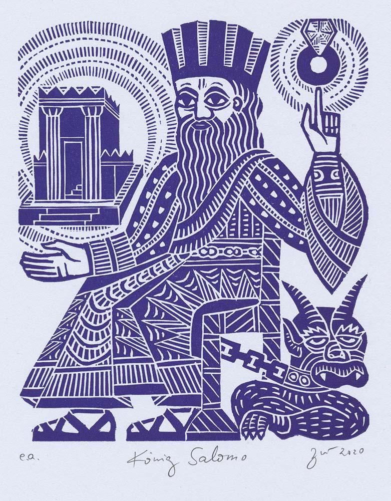 Linolschnitt König Salomo