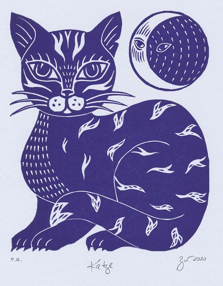 Linolschnitt Katze
