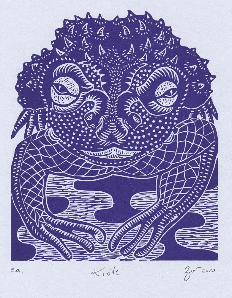 Linolschnitt Kröte