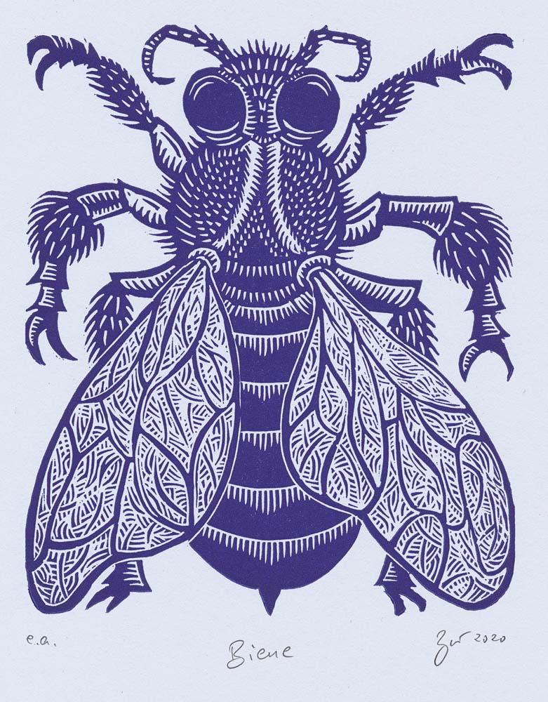 Linolschnitt Biene