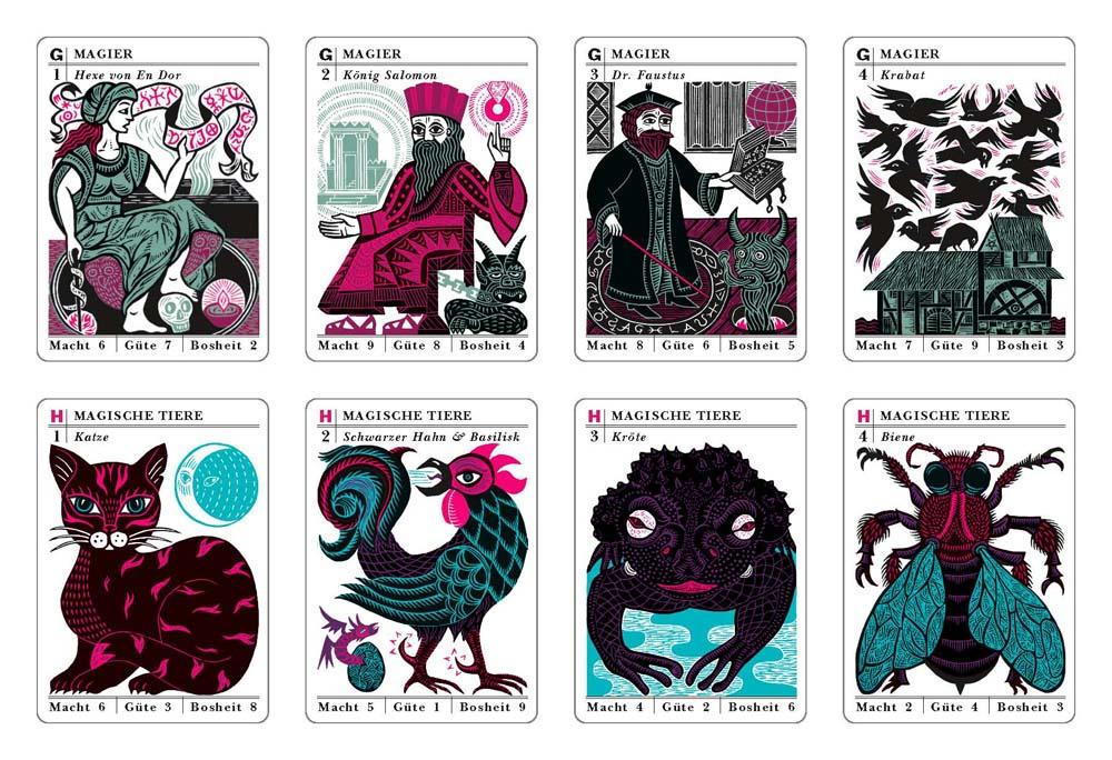 Hexe von En Dor, König Salomo, Dr. Faustus, Krabat, Katze, Schwarzer Hahn & Basilisk, Kröte, Biene