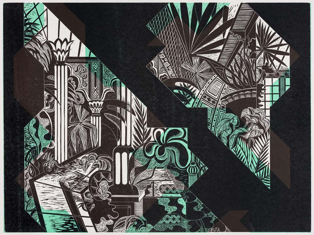 fragmentarisch dekonstruierte Ansicht des zerstörten Palmenhauses