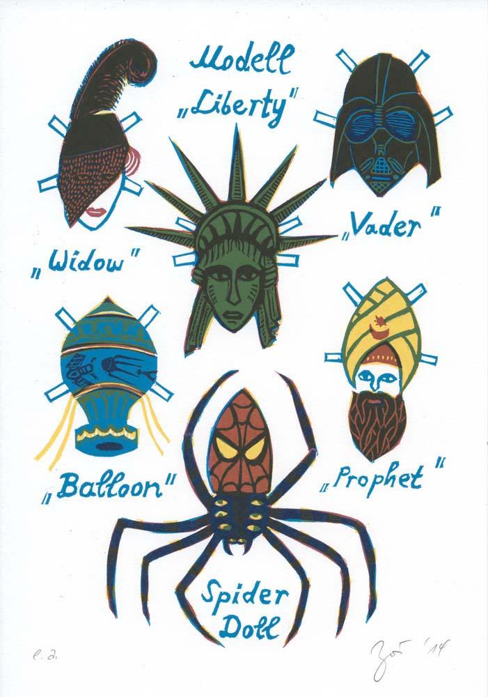 Spinne als Papier-Anziehpuppe mit Verkleidungen